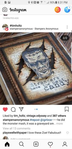Halloween Decorations To Make, Halloween Paper Crafts, Halloween Tags, Holidays Halloween, Scary Halloween, Vintage Halloween, Halloween Ideas, Happy Halloween, Tim Holtz Stamps