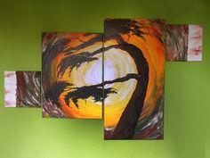 Drzewo z abstrakcją Obraz odzwierciedlający zawirowanie i niepokój duszy. 160 x 100 powstał w jeden wieczór. Akryl, ręcznie malowany na płótnie
