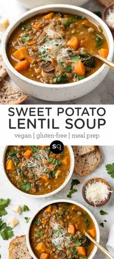 This Sweet Potato Lentil Soup is a simple, healthy and hearty meal that's great for digestion. Easy to make, packed with plant based protein and delicious! Easy homemade recipe that is a great dinner idea and perfect for meal prep! Vegan and gluten-free. Vegetarian Lentil Soup, Lentil Potato Soup, Lentil Dishes, Lentil Soup Recipes, Healthy Soup Recipes, Bean Recipes, Vegan Recipes Easy, Easy Lentil Soup, Simple Soup Recipes