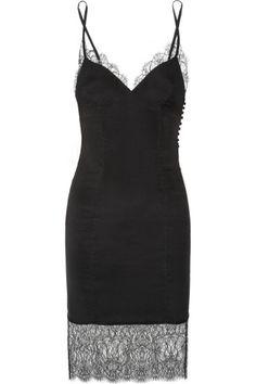 Kiki de Montparnasse|Chantilly lace-trimmed stretch-silk chemise|NET-A-PORTER.COM