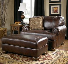 Axiom - Walnut Upholstered Chair-and-a-Half and Ottoman by Signature Design by Ashley
