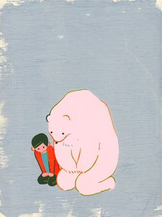 Pink bear and a boy - so beautiful....
