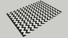3D Model of black and white chevron rug