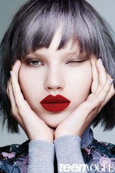 Teen Vogue - September - Ben Hassett - 2015 http://www.lisaeldridge.com/blog/27082/velvet-fishnet-and-pearls-lips-reimagined/#.Vf_evt-6fIU #LisaEldridge #makeup #beauty #BenHassett #TeenVogue