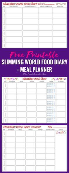 Slimming world food diary printable + bonus meal planner! Slimming World Meal Planner, Slimming World Diet Plan, Slimming World Recipes, Slimming World Journal, Slimming World Healthy Extras, Slimming World Lunch Ideas, Slimming World Breakfast, Food Journal Printable, Meal Planner Printable