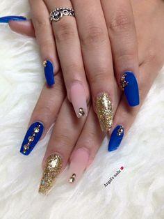 Pinned by ks marine nails royal blue jolie nail art also pin alyssa minton on fun in gold acrylic rh Blue Gold Nails, Black Gel Nails, Gold Acrylic Nails, Blue Coffin Nails, Acrylic Nail Designs, Glitter Nails, Purple Nail, Bright Purple, Nail Art Designs