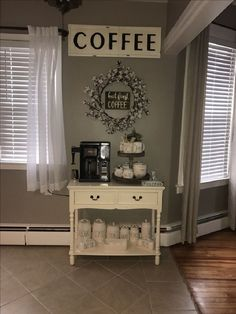 Charming Coffee Bar Ideas For Your Kitchen – kitchen kitchen decor coffee theme amazing interior design kitchen decor coffee home style tips image for. home coffee bar a small cafe shop d… Coffee Bar Home, Home Coffee Stations, Coffee Corner Kitchen, Coffee Coffee, Beverage Stations, Coffee Nook, Coffee Maker, Coffee Themed Kitchen, Coffee Kitchen Decor