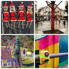 Let's play a game: Name the Yarnbomber! I will credit each of them later but do you know who is behind these installations? Here's just 4 of my faves. Happy guessing!! . #crochet #yarnbomb #yarnbomber #yarnbombeverything #makethestreetsbeautiful #ilovecrochet #yarn #knit #make #craft #fibreart #installation  #invisibleillness #chronicillness #gratitude  #craftastherapy #crochetconcupiscence #story #inspiration #motivation  #fibreartist #spreadkindness #givehappiness #guesstheyarnbomber by…
