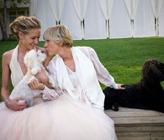 Portia de Rossi, Ellen Degeneres, and two of their dogs Portia De Rossi, The Ellen Show, Celebrity Wedding Dresses, Celebrity Weddings, Wedding Outfits, Wedding Attire, Ellen And Portia Wedding, Dog Wedding, Wedding Day