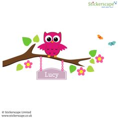 A collection of cute owl wall stickers perfect to decorate a nursery or child's bedroom.