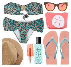 """leopard on the beach"" by sanddollardubai ❤ liked on Polyvore featuring OndadeMar, Havaianas, Melissa Odabash, Avery, NARS Cosmetics and Spektre"