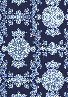 Halie #wallpaper in #navy.  Halie is an exceptionally strong, multi-directional wallpaper with a matching fabric that makes quite the statement with large medallions and graphic appeal. #Thibaut