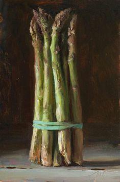 Julian Merrow-Smith Asparagus, 20cm x 30cm, oil on board