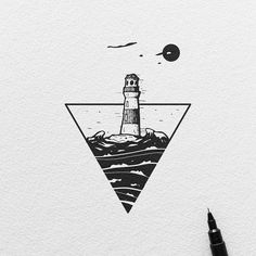 The Lighthouse - Blackwork Series. Original artwork is available email or DM for infos :) #ariarosso #illustration #sketch #drawing #tattoo