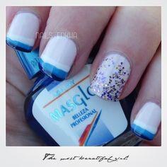 NAIL ART FRENCHS THREE COLORS http://nailenkha.blogspot.com.es/2016/11/nail-art-frenchs-three-colors.html #masglo #essie #french #glitter  #nails #notd #manicure #nailart #polish #nailspolish #nailideas #manicura #esmalte #uñas #unhas