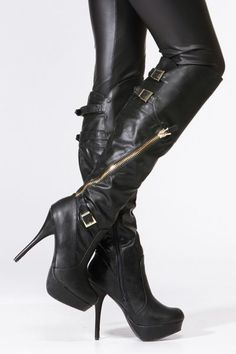 Black Faux Leather Gold Accent Knee High Platform Boots