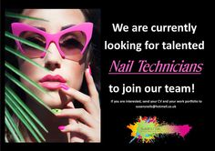 We are currently looking for talented and ambitionus self employed Nail Technicians to join our team! If you are interested, please send your CV and your work portfolio to susansnails@hotmail.co.uk Join Our Team, Nail Technician, You Working, Nail Artist, Cat Eye Sunglasses, Mosaic, Nails, Finger Nails, Ongles