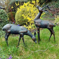 View the Deer Bronze Statues - Metal Garden Ornaments. Or see our full range of exquisite unique to Statues & Sculptures Online. Garden Animal Statues, Deer Statues, Garden Animals, Garden Statues, Garden Sculptures, Art Sculptures, Deer Garden, Big Garden, Garden Art