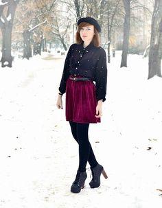 Velvet skirt  (by Kinga W.) http://lookbook.nu/look/4381829-velvet-skirt