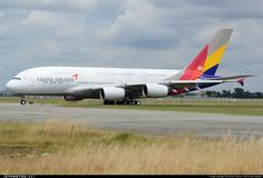 Airline: Asiana Airlines Aircraft: Airbus A380-841 Location: Toulouse Blagnac - LFBO Country: France Registration: HL7625     CN: 152 Photo Date: May 29, 2014  Delivery Flight... By: Romain Salerno / Aeronantes Spotters  Aeronantes Spotters  Added: Jul 1, 2014 NIKON D800 ISO200 F13 1/640 110mm http://www.jetphotos.net/photo/7845844