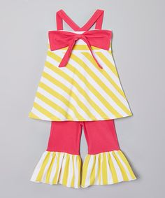 Another great find on #zulily! Yellow Stripe Swing Tank & Bell Pants - Infant, Toddler & Girls #zulilyfinds