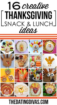 Creative snack and lunch ideas for Thanksgiving. These would be fun to sneak in the kids lunch boxes. TheDatingDivas.com