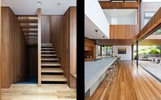 Void above kitchen space Timber cladding and linings Open stair treads House Staircase, Interior Staircase, Sustainable Architecture, Interior Architecture, Unique Architecture, Future House, Wooden Staircases, Space Interiors, Home Buying
