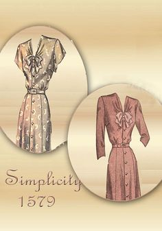 Sewing Pattern 1940s Dress Simplicity 1579 by FloradoraPresents