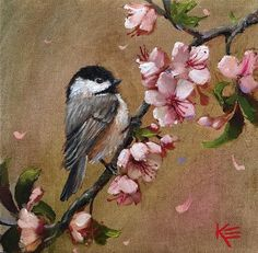 """8"""" x 8"""" oil on 3/4"""" canvas """"Chickadee & Tulips"""" This little Chickadee is enjoying a warm spring day! Hope you enjoy! This painting ships when it's dry! Thanks for looking. #chickadee , #bird, #birds #canvaspaintingbirds"""