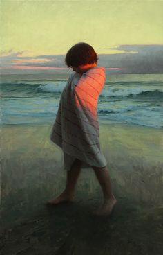 Jacob at Sundown - oil on linen 40 X 24 inches - Jeremy Lipking Figure Painting, Painting & Drawing, Grand Art, Classical Realism, John Singer Sargent, California Art, Paintings I Love, Beach Art, Portrait Art