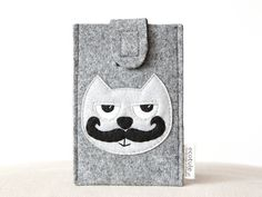 phone sleeve smartphone case mustached cat by ecotule on Etsy