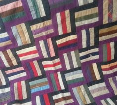 GRAPHIC Old Early ANTIQUE Vintage  AMISH/MENNONITE Roman Stripe Quilt 1920's