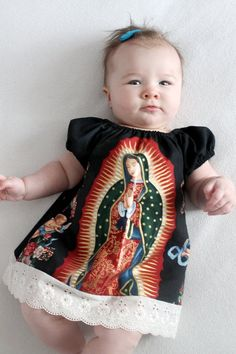 Mexican Our lady of Guadalupe baby dress in Black or Cream sizes Newborn to size 8 girls - Baby Photos Mexican Outfit, Mexican Dresses, Mexican Babies, Sweet Dress, Baby Girl Fashion, Little Girl Dresses, Our Lady, Our Girl, Baby Photos