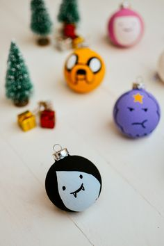 Adventure time baubles made using paints and glass baubles