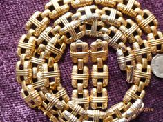 Gold Tone Vintage Necklace Bracelet and Earring Set by PhiasJewels