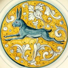 """Detail of Rinascimento 17"""" Round Serving Platter with hare made in Gubbio, Umbria - Italian pottery from Bonechi Imports"""