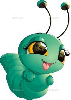 Buy Caterpillar Cartoon by on GraphicRiver. beautiful cute caterpillar on a white background Cute Cartoon Pictures, Cartoon Pics, Cute Images, Cartoon Drawings, Easy Drawings, Animal Drawings, Cute Pictures, Lama Animal, Bug Cartoon