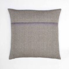 Boutique Charcoal & Purple organic cotton hand embroidered cushion with charcoal reverse