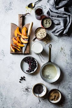 """sweetoothgirl: """" super seedy vegan baked oatmeal with peaches and huckleberries {gluten-free & dairy-free} """" Vegan Baked Oatmeal, Baked Oatmeal Recipes, Food Photography Styling, Food Styling, Food Flatlay, Baked Peach, Winter Desserts, Vegan Baking, Dairy Free"""