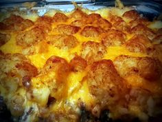 Tater Tot Casserole Recipe by Josie Real Food Recipes, Great Recipes, Cooking Recipes, Favorite Recipes, Yummy Food, Yummy Recipes, Yummy Treats, Cooking Tips, Dinner Recipes
