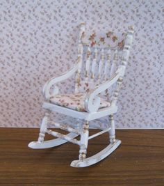 shabby chic  Rocking Chair,  decorated back and rosebud seat,. a dollhouse mini. $10.50, via Etsy.