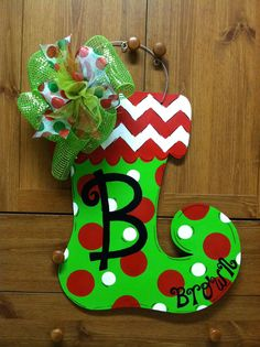 Grinch stocking door hanger by holiday baubles trendy for Wooden christmas cutouts