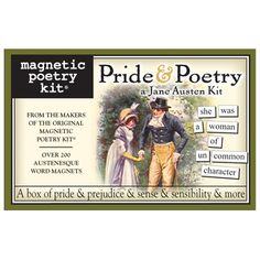 Pride & Poetry Word Magnets, which stick to any steel surface such as a refrigerator or locker. Choose from 200+ words and phrases pulled from Pride & Prejudice. (GoneReading.com has tons of book-, reading- and library-related items, btw.).