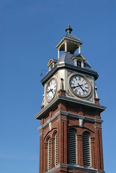 Town Clock, refurbished. Big Clocks, Wall Clocks, Father Time, Street Lamp, Telling Time, Peterborough, Towers, Wood Wall, Ontario