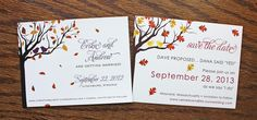 Love Birds in a Fall Tree Wedding Save the Date Cards