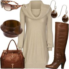 Yep, that's my style. I have a similar sweater dress and accessorize it with brown boots and brown Dooney & Bourke bag. And I top it off with my brown Jones of NY calf-length leather jacket.