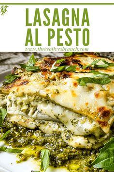 Lasagna al Pesto (Pesto Lasagna) is a cheesy homemade Italian lasagna recipe. Made with three cheeses, pasta, and a creamy bechamel basil pesto sauce. A comfort food perfect for cold weather and winter. Vegetarian. Pesto Lasagna, Italian Lasagna, Basil Pesto, Italian Recipes, Great Recipes, Risotto, Casserole, Appetizers, Pizza