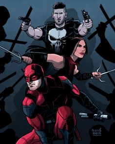 Daredevil season 2 fanart by David M. Buisan - The Punisher, Daredevil, Elektra Marvel Comics, Hq Marvel, Marvel Series, Comic Book Characters, Marvel Characters, Comic Character, Daredevil Punisher, Daredevil Artwork, John Smith