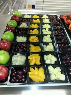Nice fruit display with contrasting colors, flavors and types