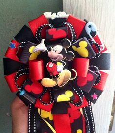 "It has layers of quality ribbon and is approx 16 inches L. Convo me if you want the baby's name or ""Its A Boy"" down the middle ribbon. Check out my other Mickey Mouse items. Baby Shower Mum, Mickey Mouse Baby Shower, Baby Mickey, Baby Mouse, Baby Shower Parties, Baby Shower Themes, Shower Ideas, Baby Corsage, Corsage Pins"